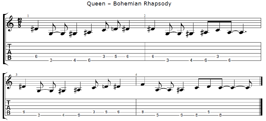 queen bohemian rhapsody riff larne guitar school larne guitar school. Black Bedroom Furniture Sets. Home Design Ideas